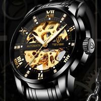 Men's Skeleton Automatic Mechanical Wrist Watch Stainless Steel Band Gift Box