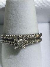 14k White Gold Small Diamonds Wedding Set