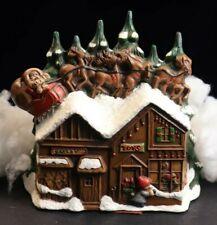 Vintage Large Ceramic Santa on Roof with Reindeer Village House, 1970's