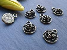 Antique Bronze Mini Rose Charms 20pcs Design 3 Vintage Flower Pendants Kitsch