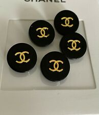 Chanel vintage set of 10 buttons black and gold 15mm BROOCH