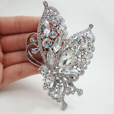 Fashion Silver-Tone Butterfly Insect Brooch Pin Clear Rhinestone Crystal Bride