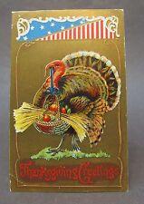 1910 THANKSGIVING gold patriotic TURKEY carrying basket embossed postcard *