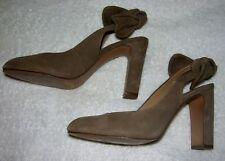 "Women's High Heels Taupe Color Suede/Leather, Size 7 Med by ""Banana Republic"""