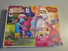 Dreamworks Trolls 5 Wood Puzzle Pack Storage Tray New in Box