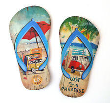 Pair of Wooden Flip Flop Surf VW Campervan Sign Printed Wall Art Decoration