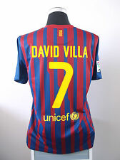 David villa #7 barcelone home football shirt jersey 2011/12 (l)