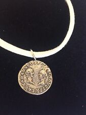 "Denarius Vespa Roman Coin WC27 Made From Fine Pewter On 18"" White Cord Necklace"