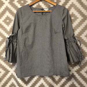 J. Crew Factory Womens Black White Gingham Bell Bow Sleeve Top Blouse