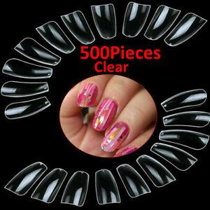 500Pcs False Nail Tips Acrylic Fake Nails Long Stiletto Coffin Glue Cutter Clear