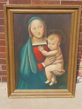 Madonna Mary & Jesus old Catholic Church Altar Oil Painting icon + Artist Signed