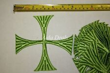 "(12 pcs) Iron Embroidered Religious Patch Green Cross 5""1/2x5""1/2 (Design #0015)"