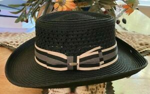 SCALA * NEW MENS BLACK GAMBLER HAT * XL * PANAMA STYLE TOYO STRAW SUN SHADY GOLF