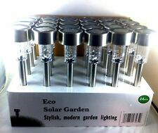24 Kits Outdoor Garden Stainless Steel  Solar Yard Landscape White Led Light