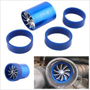 Car Aluminum Blue Air Intake Turbonator Dual Fan Engine Turbine Super Charger