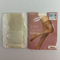 Vtg JCPenney Womens Thigh High Stockings 2 Pair Bone Color USA Size Long NEW