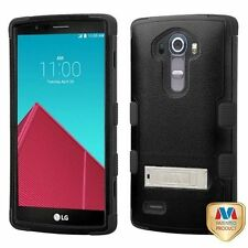 MYBAT Tuff Hybrid Phone Protector Case with Stand (Black) for LG G4