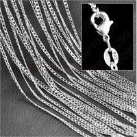 "1 / 5x 925 Sterling Plateado Collar de cadena Rolo Curb de 2MM 16 ""30"" Colgantes"