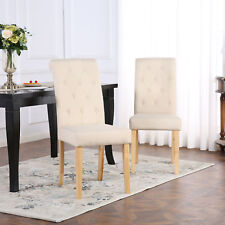 2 x DELUXE FABRIC DINING LIVING ROOM CHAIRS SCROLL HIGH BACK CREAM