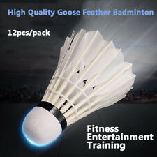 12Pcs Feather Shuttlecocks Birdies Badminton Ball Sport Game Training Goose
