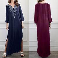 ZANZEA Women Summer V Neck Kaftan Gown Side Slit Long Maxi Printed Floral Dress