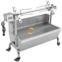 118cm 176LBS Pig Spit Roaster Goat Chicken Spit Rotisserie BBQ Grill wWindshield