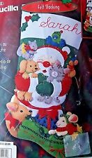 "Bucilla Christmas Stocking CHRISTMAS HUGS Felt Kit  18"" Sandy Garbrandt"