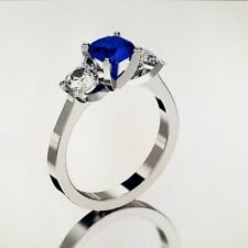 14 KT WHITE GOLD 6.5MM SAPPHIRE THREE STONE RING SIZE 9