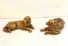 """Pair Of Antique Solid Cast Brass Dog Figurines 5.5"""" Long"""