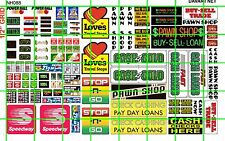 NH088 DAVE'S DECALS 1/2 Set N SCALE BIZ SET PAWN SHOP TRUCK STOP STORE SIGNAGE