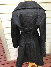 HEARTS AND ROSES Goth Pirate Steampunk  Black Brocade Jacket  Coat  Size S