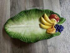 Vtg Fitz And Floyd Classics Calypso Fruit Banana Leaf Serving Bowl Dish