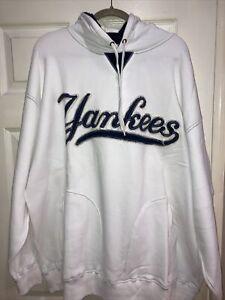 NWT White Majestic MLB NY Yankees Pullover Hooded Sweatshirt Size 2XL