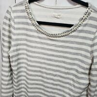 Maison Jules Women's Striped Cotton Blend Top Embellished Neckline Size Medium