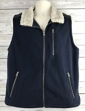 Orvis Navy Fleece Sherpa Vest Mens Size Medium Faux Leather Trim