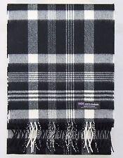 100% CASHMERE Scarf Black White Check Plaid Tartan Soft SCOTLAND Wool Women D319