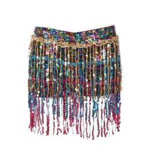 Rainbow Sequin Shorts Festival Party Shirt With Under Shorts