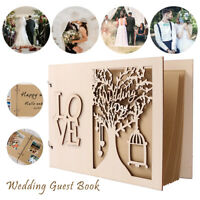 EVERSO Wooden Wedding Guest Book Engagement Anniversary Birthday Album 20 pages