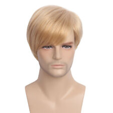 Mens Wig Male Cosplay Party Short Layered Blonde Ombre Straight Hair Toupee 12""