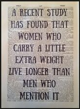 Women Funny Quote Print Vintage Dictionary Page Wall Art Picture Diet Weight