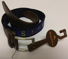 Tommy Bahama Belt Size XL 42-44 Beer Can, Synthetic Leather Blue Cotton