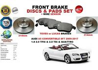 FOR AUDI A5 CONVERTIBLE 8F7 09-17 FRONT BRAKE DISCS SET + PADS KIT + WIRE SENSOR
