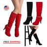 Women's Knee High Boot Side Zipper Faux fur Platform High Heels Fashion Boots