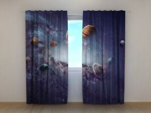 Curtain Creating Planets by Wellmira custom made 3D printed space kid's bedroom