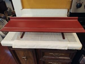 "Vintage Tenex USA Standing Shelf Red Plastic Metal 26"" L X 7 3/4"" W"