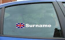 x2 Rally Race Tag Name Surname Car Window Stickers Decals Union Jack Flag ref:6