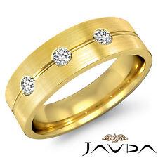 3 Stone Diamond Mens Half Wedding Band Matt Finish Ring 14k Yellow Gold 0.51Ct