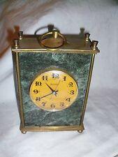 Clock CARRIAGE CLOCK MOINJA USSR brass & marble 12x16x6cm mechanical .........28
