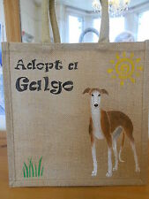Hand Painted Brindle Galgo (Spanish Greyhound) Jute Bag - For 112 Carlota Galgos