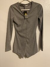 Moxeay V-Neck One Piece Bodysuit Long Sleeve Bodycon Rompers, Gray, Size LM